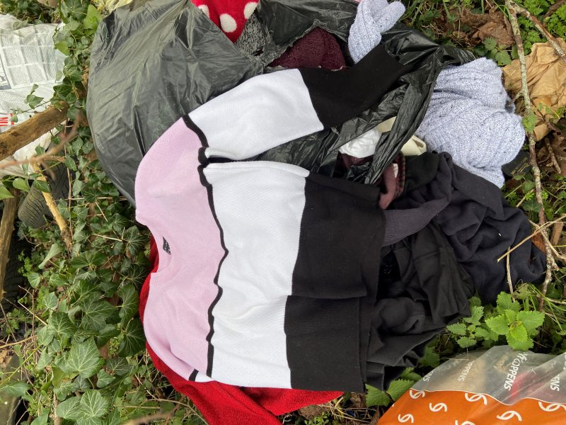 Image of mixed waste disposed of in the countryside near Credenhill